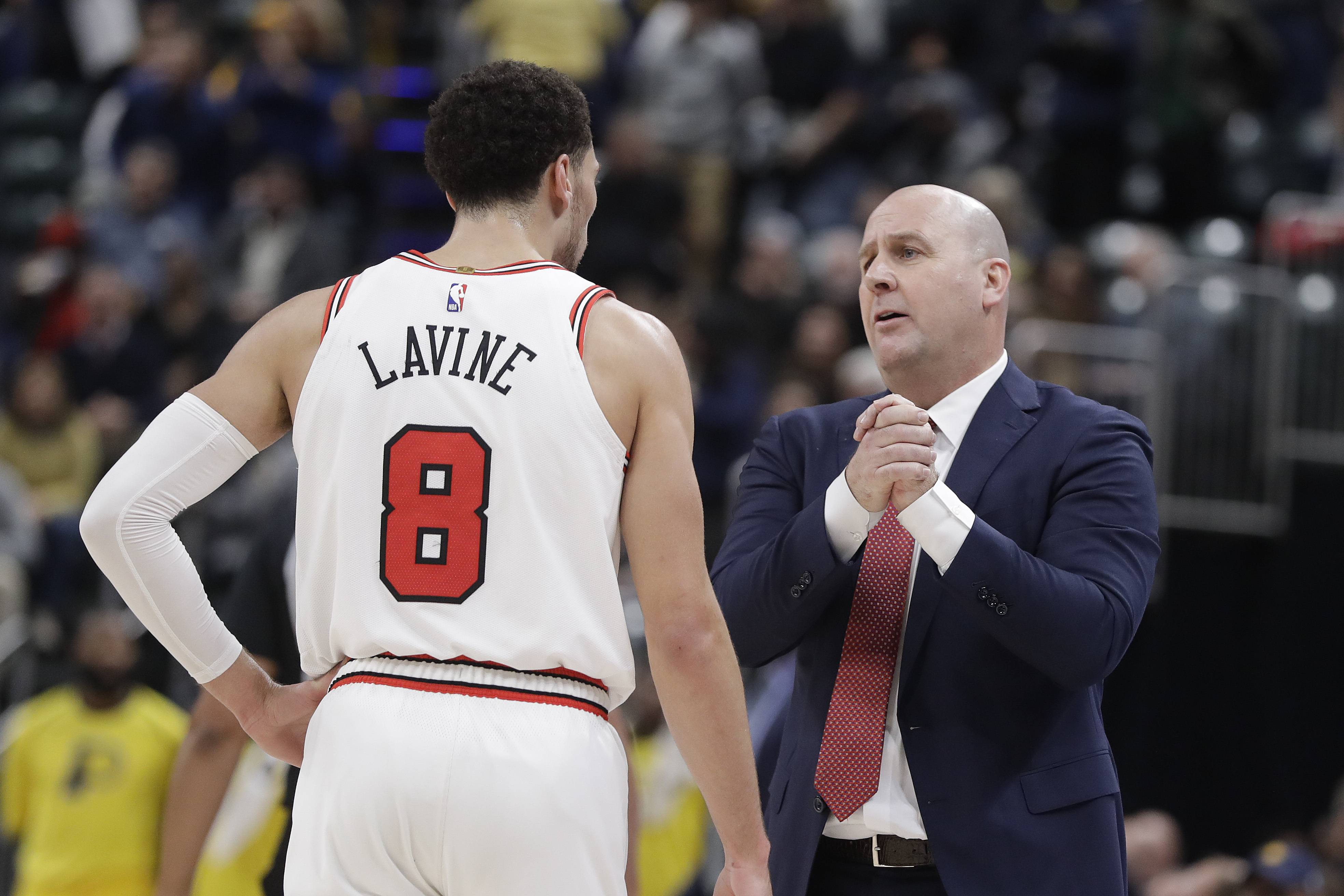 Chicago Bulls head coach Jim Boylen talks with Zach LaVine during the second half of an NBA basketball game against the Indiana Pacers, Tuesday, Dec. 4, 2018, in Indianapolis. Indiana won 96-90.