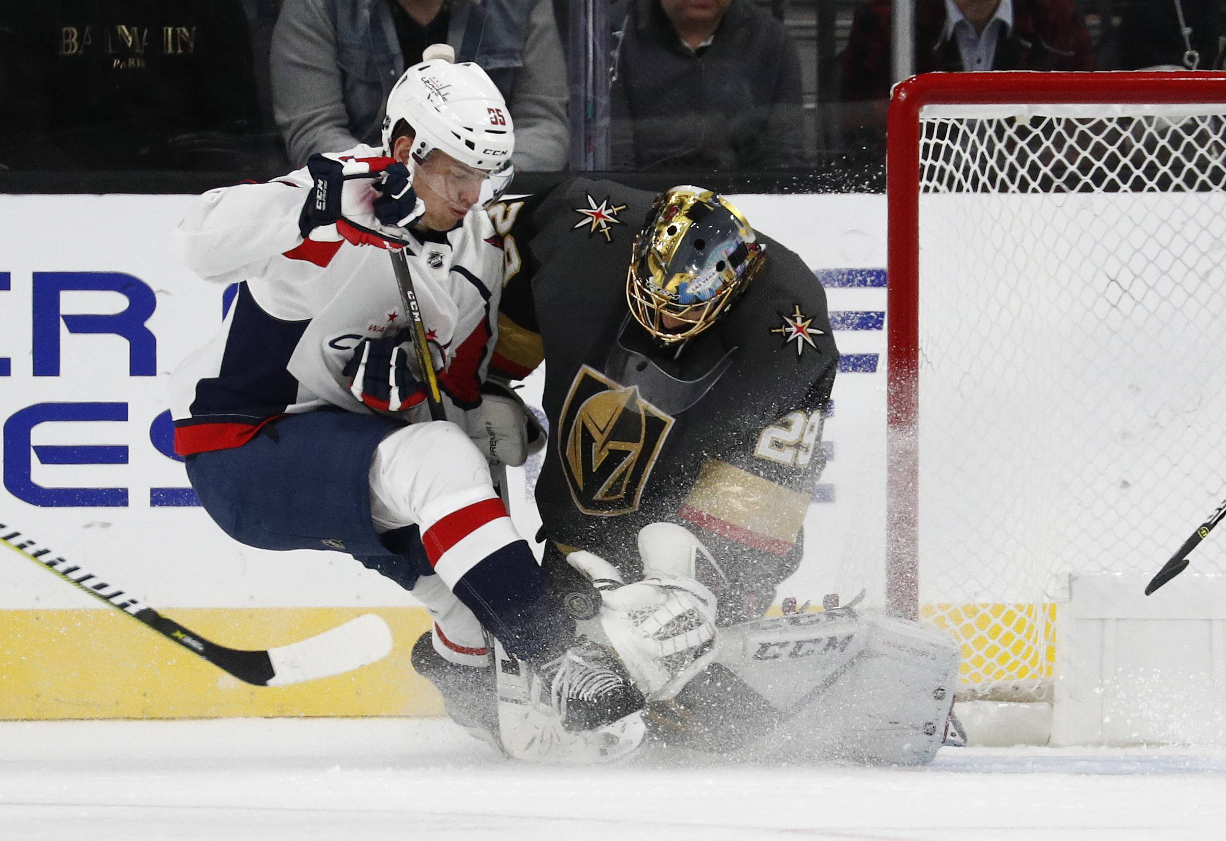 Vegas Golden Knights goaltender Marc-Andre Fleury, here blocking a shot by Washington's Andre Burakovsky, is one reason the Knights are on such a roll of late.