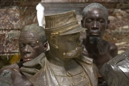 Busts on display at the Africa Museum in Tervuren, Belgium, Friday, Aug. 3, 2018. The museum is reopening on Saturday Dec. 8, 2018, after more than 10 years spent revamping the building and overhauling its dated, one-sided approach to history.