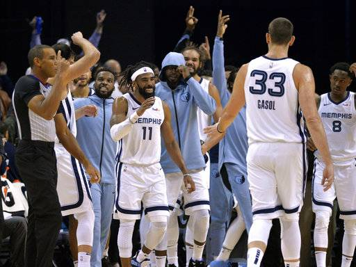 Teammates react after Memphis Grizzlies guard Mike Conley (11) made a 3-point basket to beat the buzzer at the end of the first half of an NBA basketball game against the Los Angeles Clippers Wednesday, Dec. 5, 2018, in Memphis, Tenn.