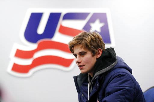 In this Tuesday, Nov. 27, 2018, photo, Jack Hughes, expected to be a top pick in the next NHL hockey draft, is interviewed in Plymouth, Mich. USA Hockey has developed the nation's top players for more than two-plus decades, producing a quartet of No. 1 overall picks in the NHL draft, including Auston Matthews and Patrick Kane. Hughes may be next.