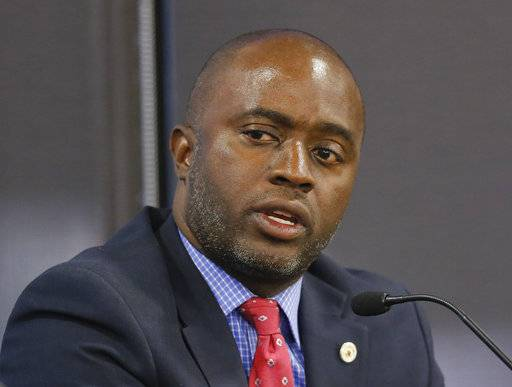 FILE - In this Sept. 11, 2018, file photo, Assemblyman Tony Thurmond, D-Richmond, speaks at a debate in Sacramento, Calif. Thurmond was elected as California's Superintendent of Public Instruction. With new Democrats set to take over the governor's mansion across the country, the charter school movement may face a shifting political landscape in a number of key states. The incoming governors in California, Illinois and New Mexico have all said they want to take the rare step of putting a temporary halt on new charter schools.