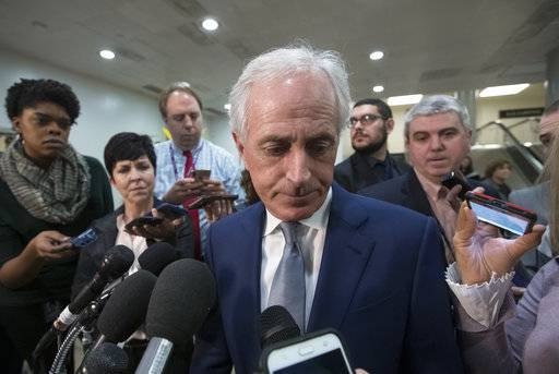"Senate Foreign Relations Committee Bob Corker, R-Tenn., speaks to reporters after a closed-door security briefing by CIA Director Gina Haspel on the slaying of Saudi journalist Jamal Khashoggi and the involvement of the Saudi crown prince, Mohammed bin Salman, at the Capitol in Washington, Tuesday, Dec. 4, 2018. Graham said there is ""zero chance"" the crown prince wasn't involved in Khashoggi's death. Corker said he believes if the crown prince were put on trial, a jury would find him guilty in ""about 30 minutes."""