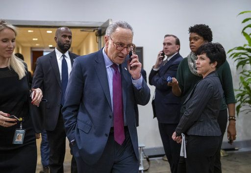 Senate Minority Leader Chuck Schumer, D-N.Y., leaves a closed-door security briefing by CIA Director Gina Haspel on the slaying of Saudi journalist Jamal Khashoggi and the involvement of the Saudi crown prince, Mohammed bin Salman, at the Capitol in Washington, Tuesday, Dec. 4, 2018.
