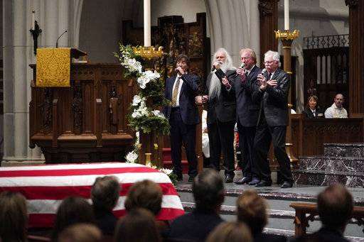 "The Oak Ridge boys sing ""Amazing Grace"" during a funeral service for former President George H.W. Bush at St. Martin's Episcopal Church Thursday, Dec. 6, 2018, in Houston."