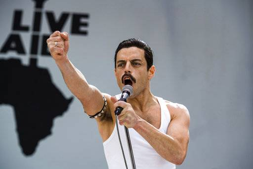 "This image released by Twentieth Century Fox shows Rami Malek in a scene from ""Bohemian Rhapsody."" On Thursday, Dec. 6, 2018, Malek was nominated for a Golden Globe award for lead actor in a motion picture drama for his role in the film. The 76th Golden Globe Awards will be held on Sunday, Jan. 6. (Alex Bailey/Twentieth Century Fox via AP)"