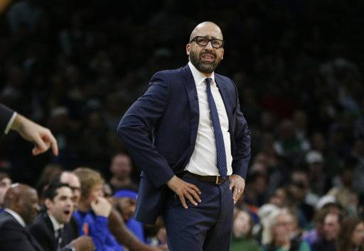 New York Knicks coach David Fizdale watches from the bench during the first quarter of the team's NBA basketball game against the Boston Celtics, Thursday, Dec. 6, 2018, in Boston.