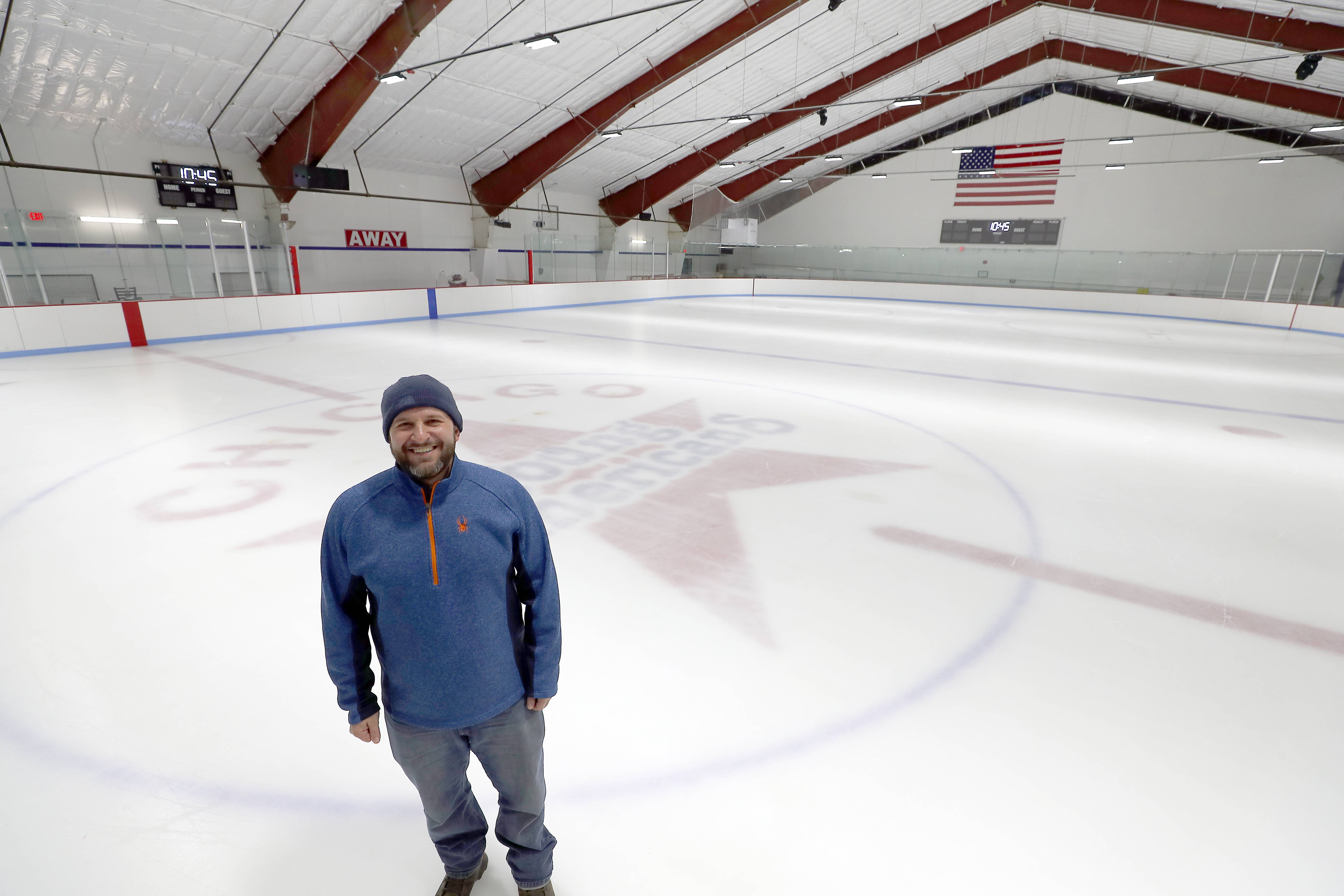 Chicago Young Americans President Jason Ori shows off the organization's Orbit Ice Arena in Palatine, which holds a grand opening Saturday. The arena is in the same building where Orbit Skate Center operated for 46 years until closing in March.
