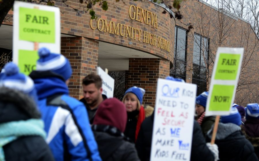 Geneva teachers continue picketing outside Geneva Community High School on the second day of their strike.