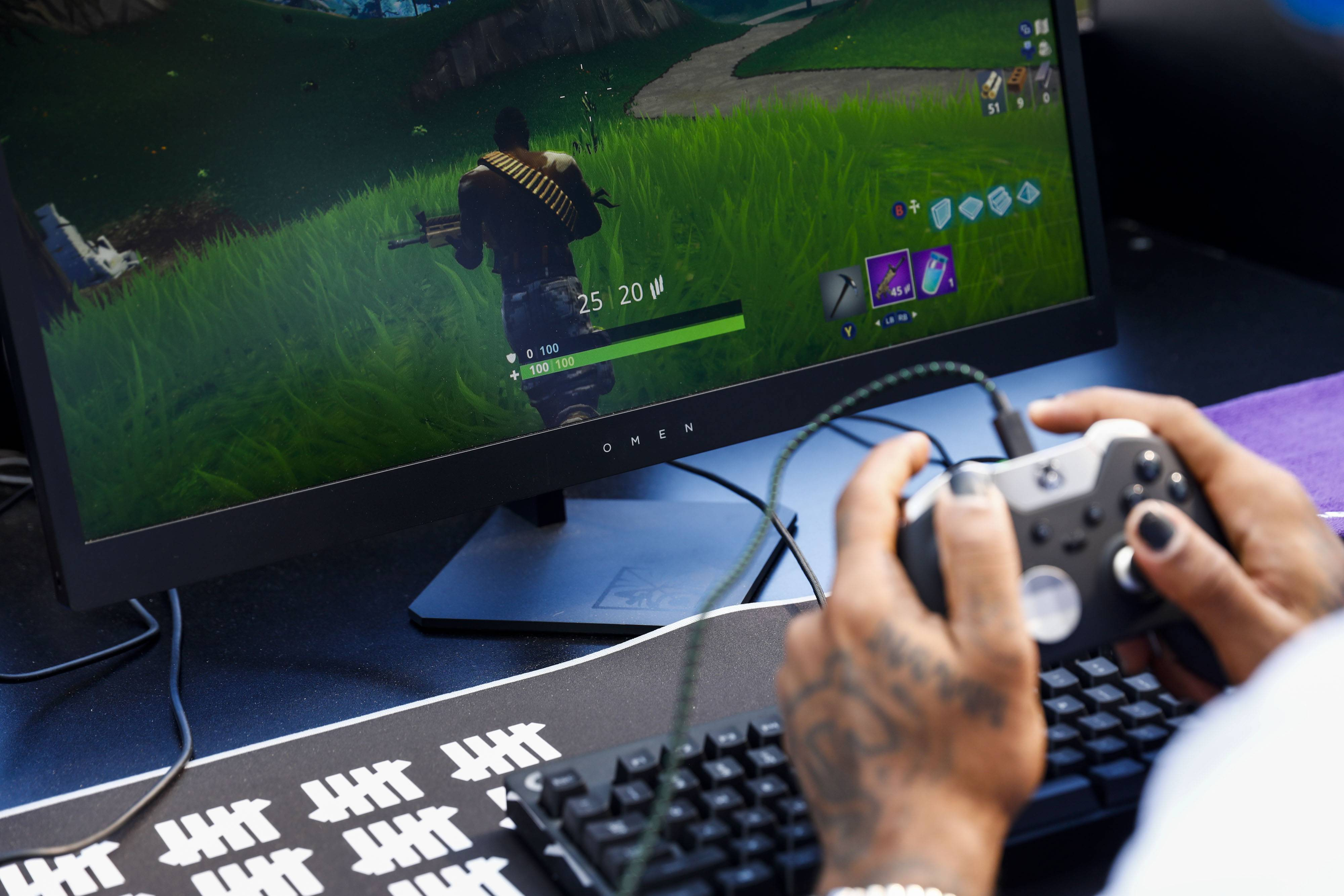 A player competes in the Epic Games Inc. Fortnite: Battle Royale Celebrity Pro Am in Los Angeles on June 12, 2018.