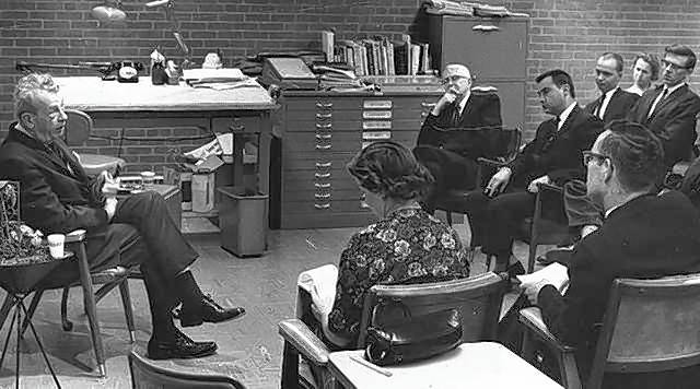Community service has always been a hallmark of Paddock Publications and the Daily Herald. In this historical picture, editors interview Illinois Sen. Everett Dirksen, left. Then-CEO Stuart Paddock Sr. is at the top in front of file cabinets.