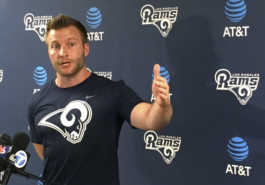 Los Angeles Rams coach Sean McVay gestures while making a point after the first official day of his new team's offseason football program April 10, 2017, in Thousand Oaks, Calif.