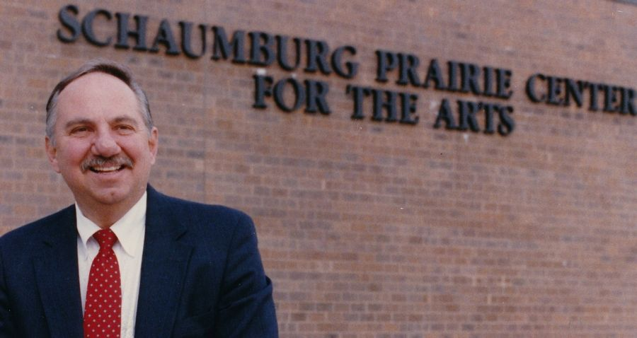 Schaumburg Mayor Al Larson in front of the Schaumburg Prairie Center for the Arts more than 20 years before it would be renamed in his honor.