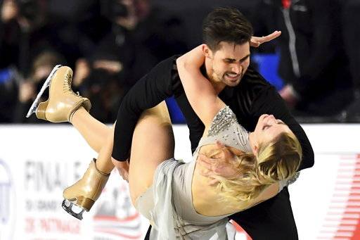 Madison Hubbell and Zachary Donohue, of the United States, perform their ice dance free dance at figure skating's Grand Prix Final in Vancouver, British Columbia, Saturday, Dec. 8, 2018. (Jonathan Hayward/The Canadian Press via AP)
