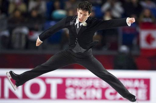 Keegan Messing, of Canada, performs during the men's free skate at figure skating's Grand Prix Final in Vancouver, British Columbia, Friday, Dec. 7, 2018. (Jonathan Hayward/The Canadian Press via AP)