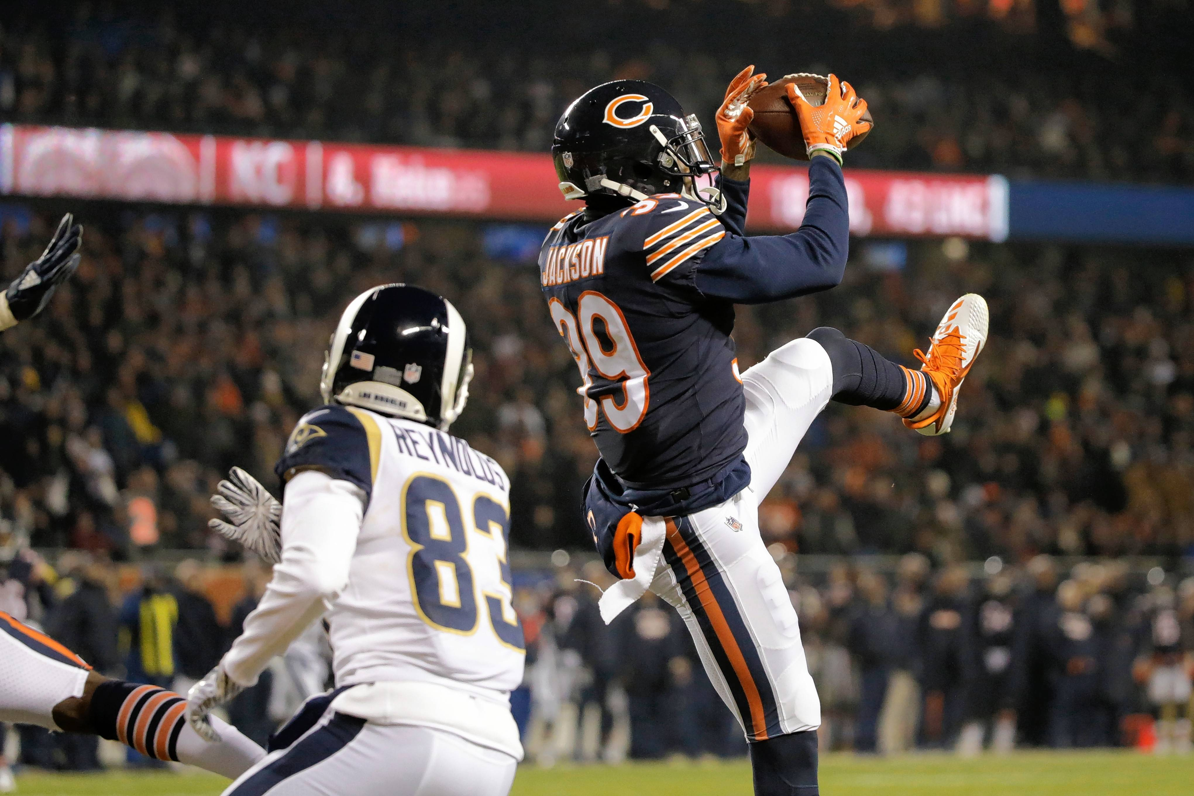 Chicago Bears safety Eddie Jackson (39) intercepts a pass intended for Los Angeles Rams wide receiver Josh Reynolds (83) during the first half of an NFL football game Sunday, Dec. 9, 2018, in Chicago.