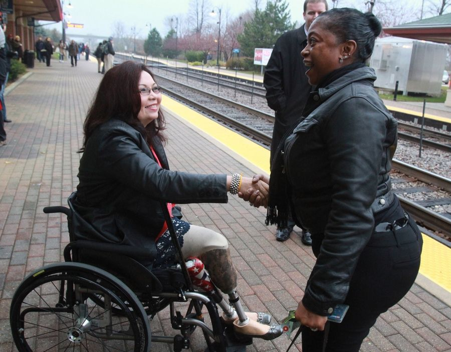 "U.S. Sen. Tammy Duckworth relies on her wheelchair to be her ""legs"" when interacting with constituents in Schaumburg. She worked to implement a rule requiring airlines to report damage to wheelchairs on planes."