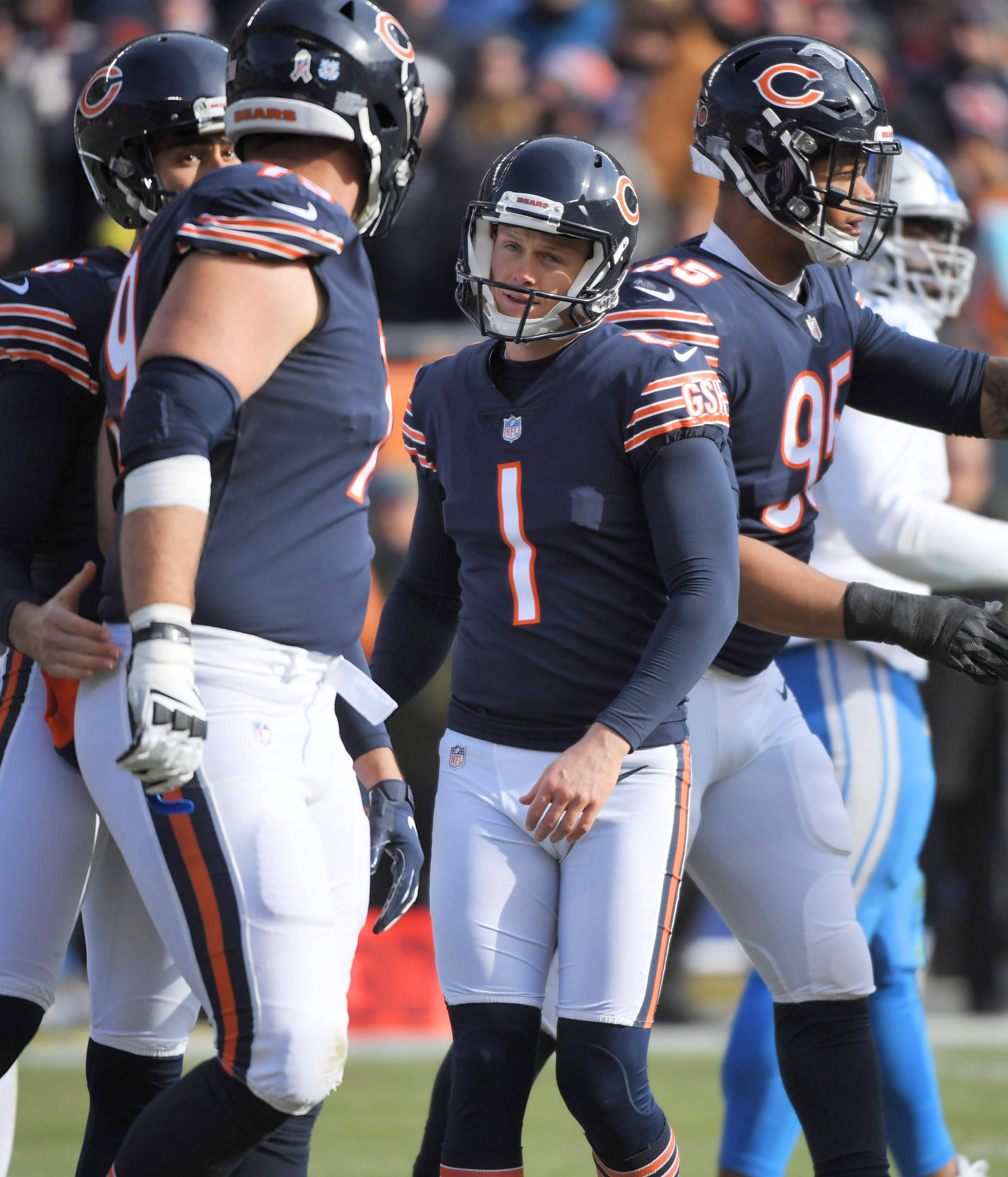 Chicago Bears kicker Cody Parkey reacts after missing his second extra point attempt against the Detroit Lions Sunday at Soldier Field in Chicago.