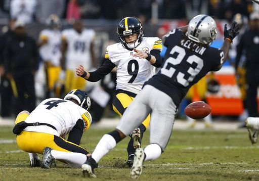 29920b7d6 Pittsburgh Steelers kicker Chris Boswell (9) slips on the turf while  attempting a field