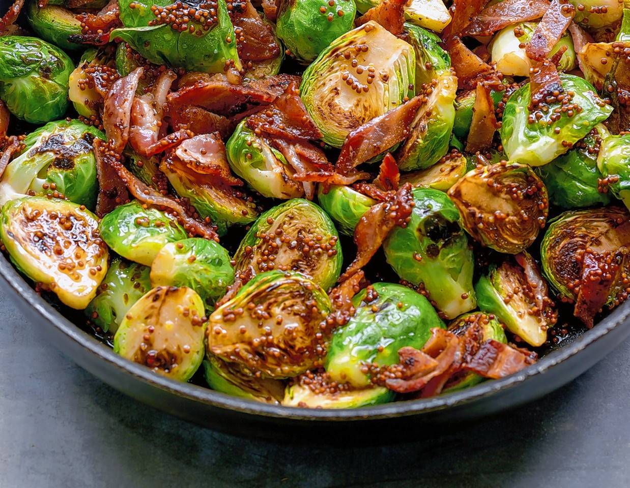 A delicious blend of good-for-you Brussels sprouts with bacon dressing.