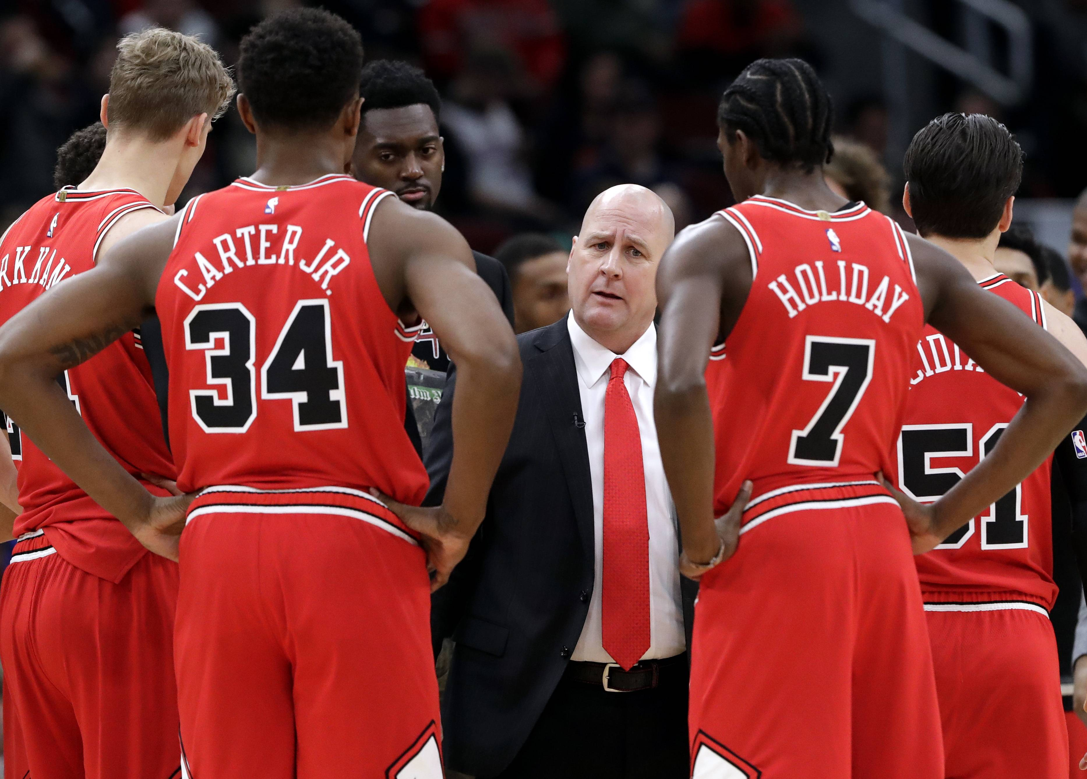 Bulls head coach Jim Boylen talks to his team during win over the Oklahoma City Thunder on Friday. The next step in Boylen's eventful first week as Bulls head coach is to institute a leadership counsel among players to discuss any problems or issues with the coaching staff.