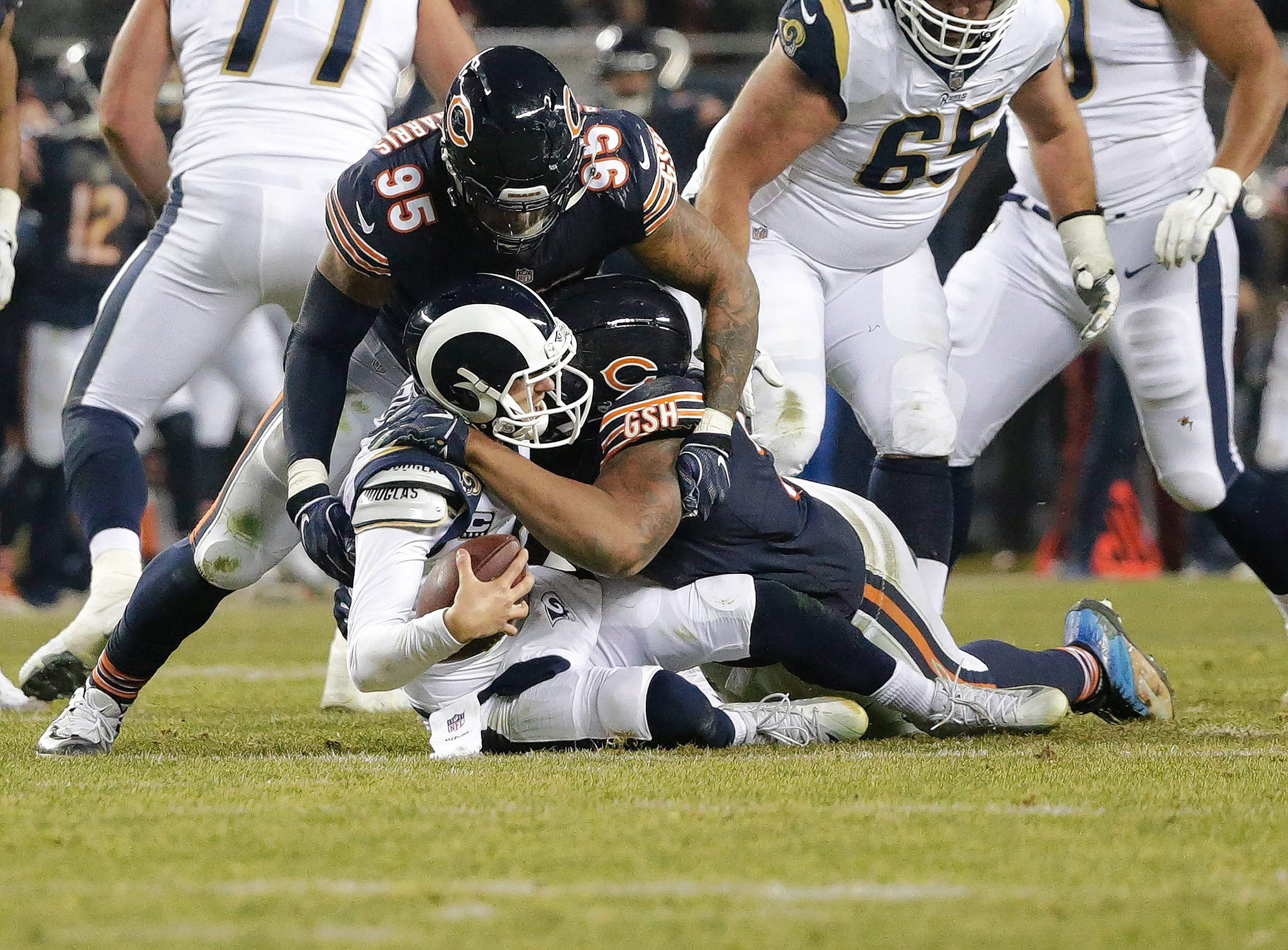 Bears defensive end Akiem Hicks (96) sacks Los Angeles Rams quarterback Jared Goff (16) during the second half Sunday in Chicago. Hicks believes the league should fear the Bears' defense. He is not wrong.