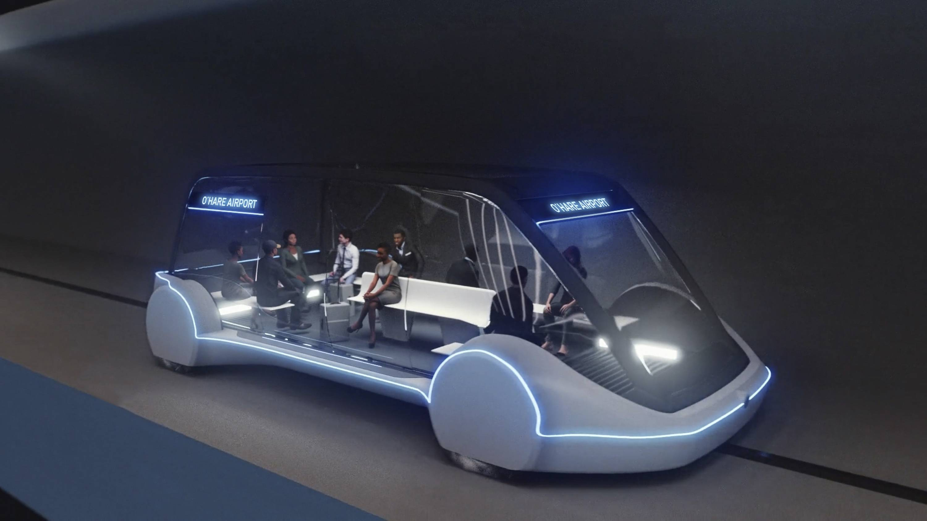 This undated artist's rendering provided by The Boring Company shows an electric public transportation vehicle that is part of a proposed high-speed underground transportation system that will transport passengers from downtown Chicago to O'Hare International Airport.