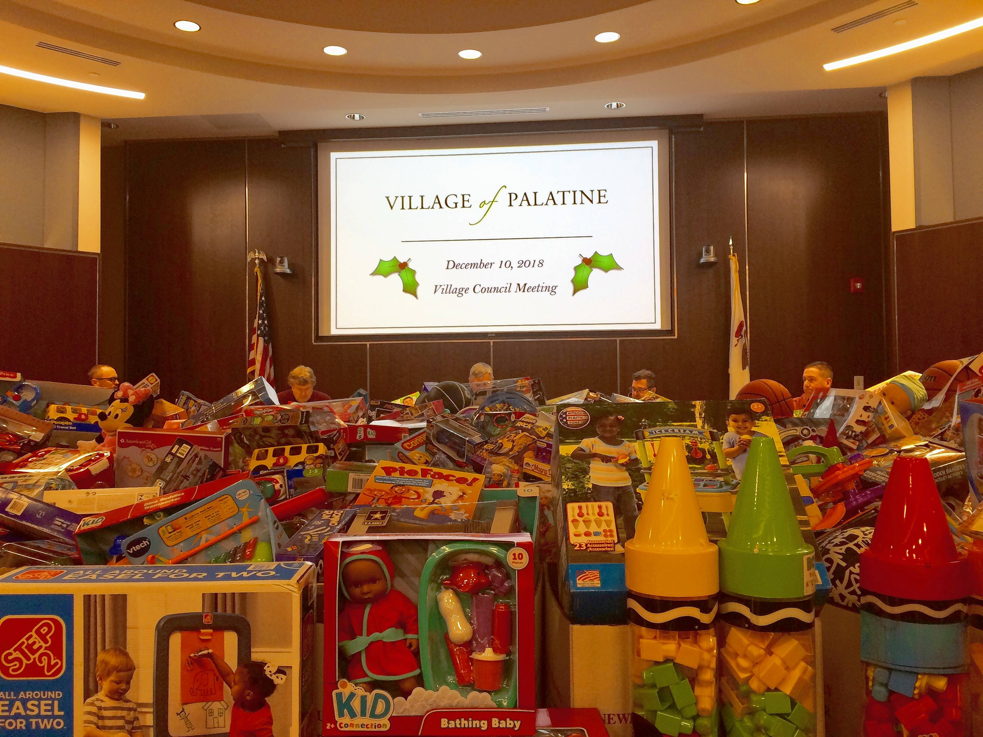 Palatine's village council chamber showed the area's generosity this week as it was packed with gifts that will go to less fortunate children for Christmas.