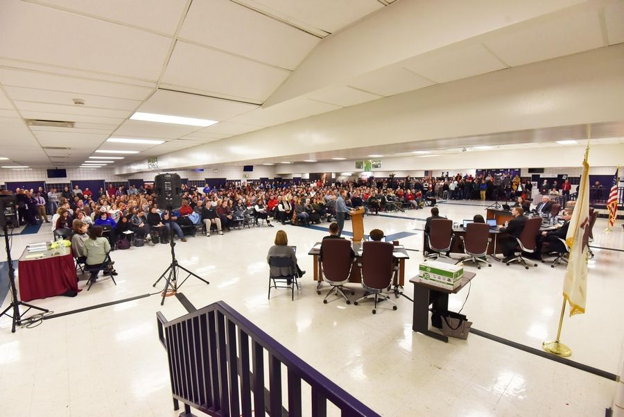 There was 90 minutes of public comment Thursday evening during Palatine-Schaumburg High School District 211's board meeting in the Conant High School cafeteria in Hoffman Estates. Teachers could go on strike Tuesday.