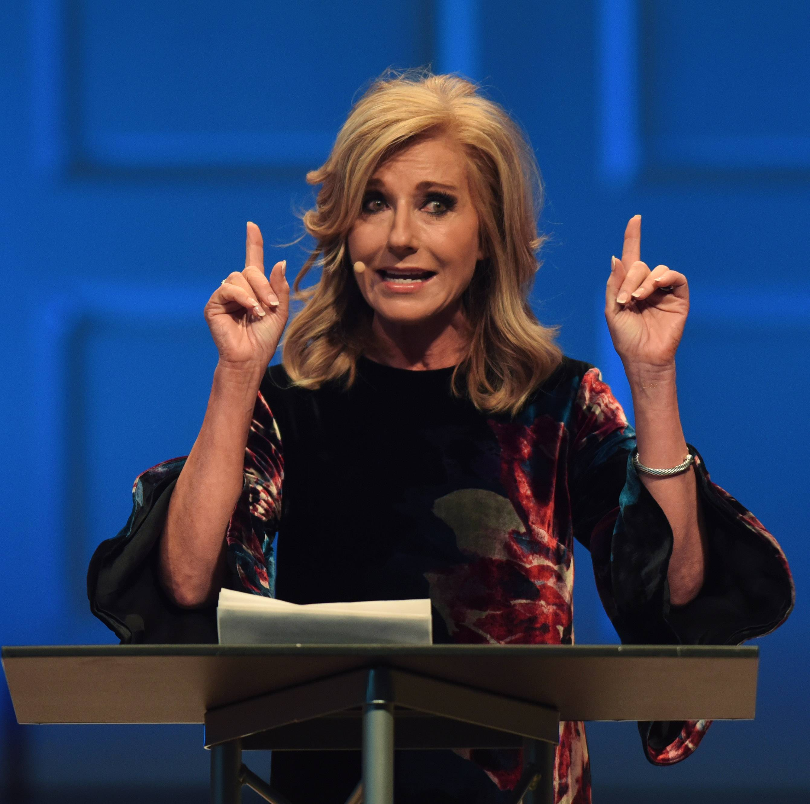 "Beth Moore addresses the gathering Thursday at Wheaton College's ""Reflections: A GC2 Summit on Responding to Sexual Harassment, Abuse, and Violence."""