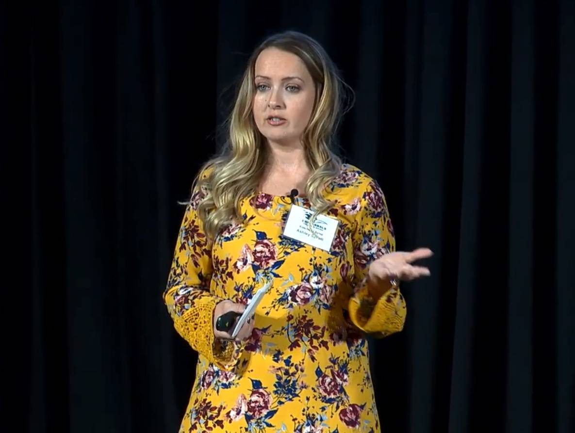 College of DuPage student Ashley Spratt of Carol Stream won the 2018 COD Pitch Contest, after impressing an audience and panel of expert judges with a well-organized presentation of her business.
