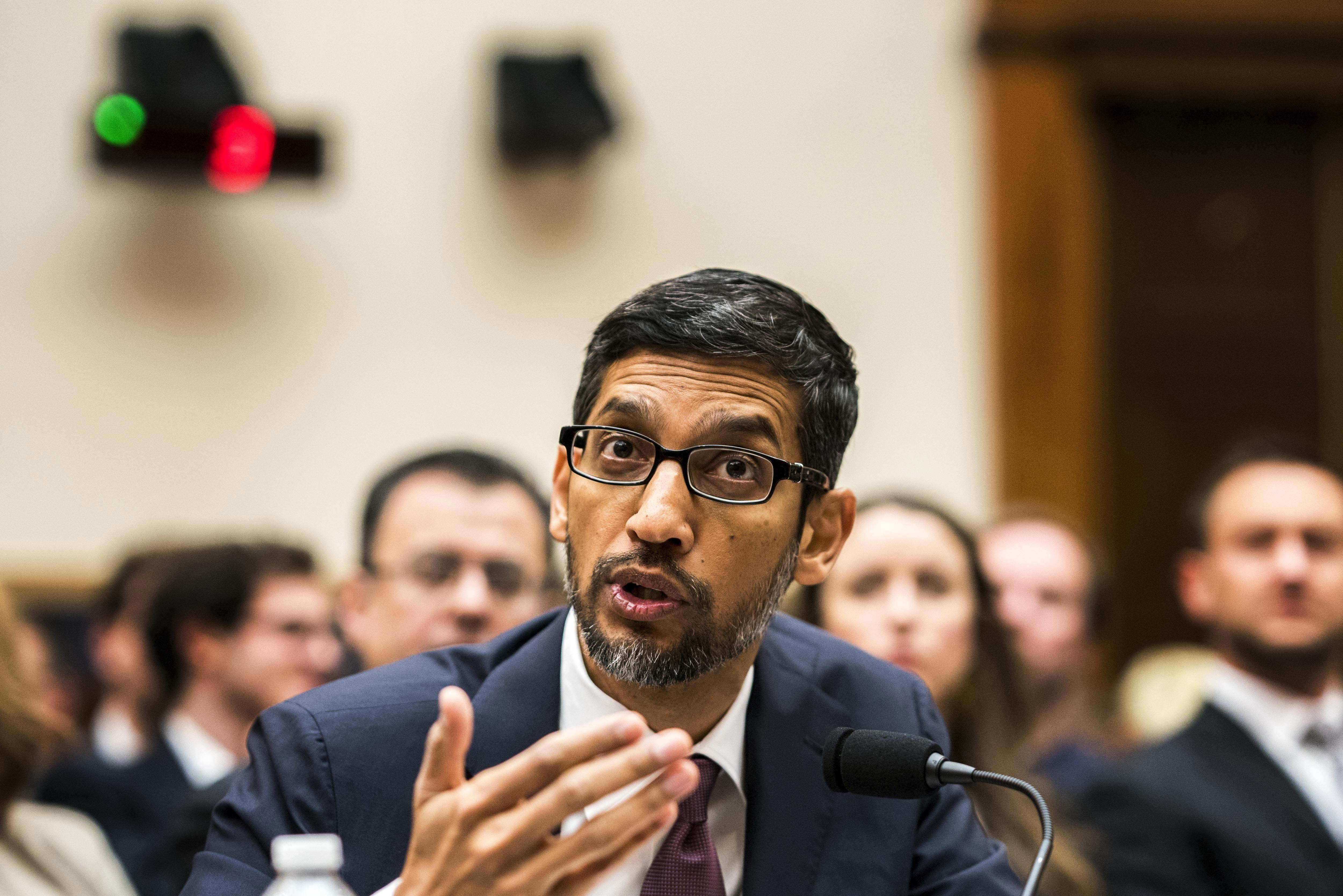 Google CEO Sundar Pichai appears before the House Judiciary Committee on Capitol Hill in Washington on Dec. 11, 2018.