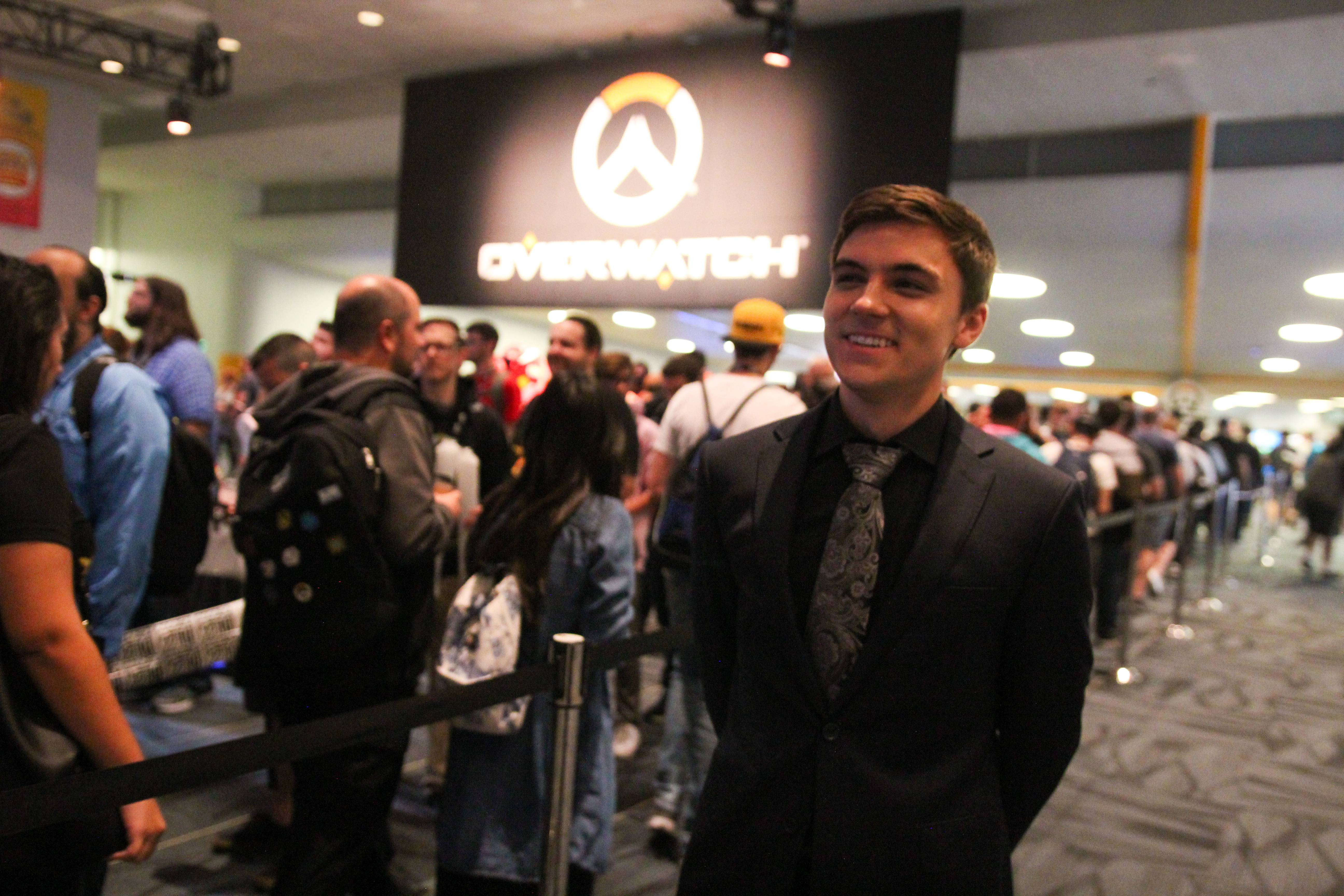 Pro Gamer Jake Lyon, of the Overwatch League's Houston Outlaws, stands outside Overwatch Arena at Blizzcon, where was commentating on matches and interacting with fans.