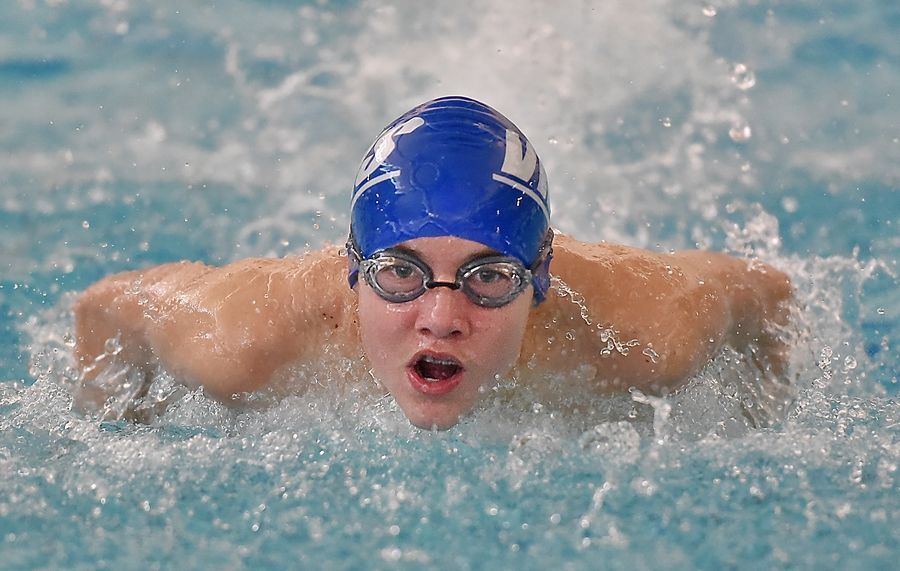 Vernon Hills' Erik Giezycki powers through the butterfly stroke in the 200-yard individual medley at the Lake County boys swimming meet at Stevenson High School in Lincolnshire Saturday.