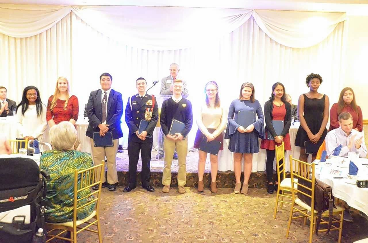 Ten Aurora area youth were honored with community service awards at the annual Pearl Harbor Day luncheon Dec. 10. From left are Janice Sefah, Christina Schulenberg, Fabian Rangel, Javier Munoz, Robert McCarthy, Alaina Fleming, Emma Gatz, Shruti Kolli, Cassandra Kuissi, and Araceli Mercado.