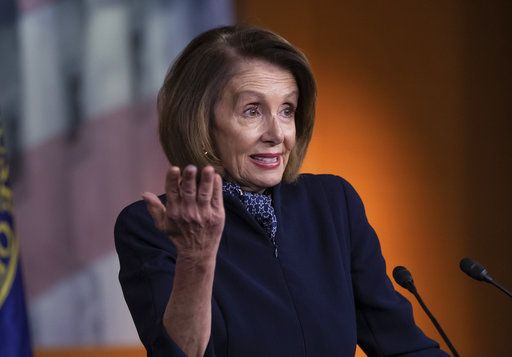 In this Dec. 13, 2018 photo, House Democratic leader Nancy Pelosi of California holds a news conference at the Capitol in Washington. Parties and Christmas cookies only soothe so much in the chilly Capitol after two years of President Donald Trump's provocations, dramas like Supreme Court Justice Brett Kavanaugh's confirmation and the elections that flipped the House majority to Democrats. Everyone wants to go home, yet both chambers were scheduled to be in session next week over hefty matters, including the budget and criminal sentencing reform.