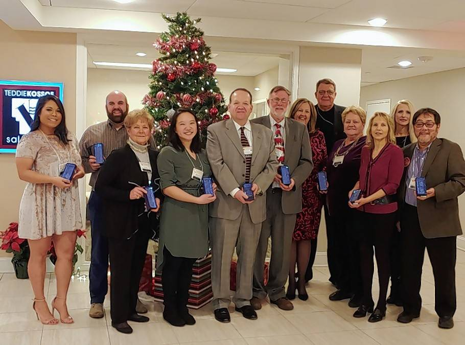 The Palatine Area Chamber of Commerce presented its Keys to Success awards Friday. Winners included, from left: Elisabet Reyes, Jdog (New Business of the Year); Marg Duer (Community Volunteer of the Year); Maegan Jong (Youth Rising Star); Eric Marzinke, ProMark Planners (Business Leader of the Year); Charles Warner, Faith Community Homes (Co-Community Organization of the Year); Cindy and Marty Eich/Sue Gould, Realtors Against Homelessness (Co-Community Organization of the Year); Jan Wood/JP Wood Martial Arts America (Chamber Volunteer of the Year); Roberta Sullivan/d'Vine Wine and Gifts (Small Business of the Year); Steve Colello, Jewel-Osco on Plum Grove Road (Business of the Year).