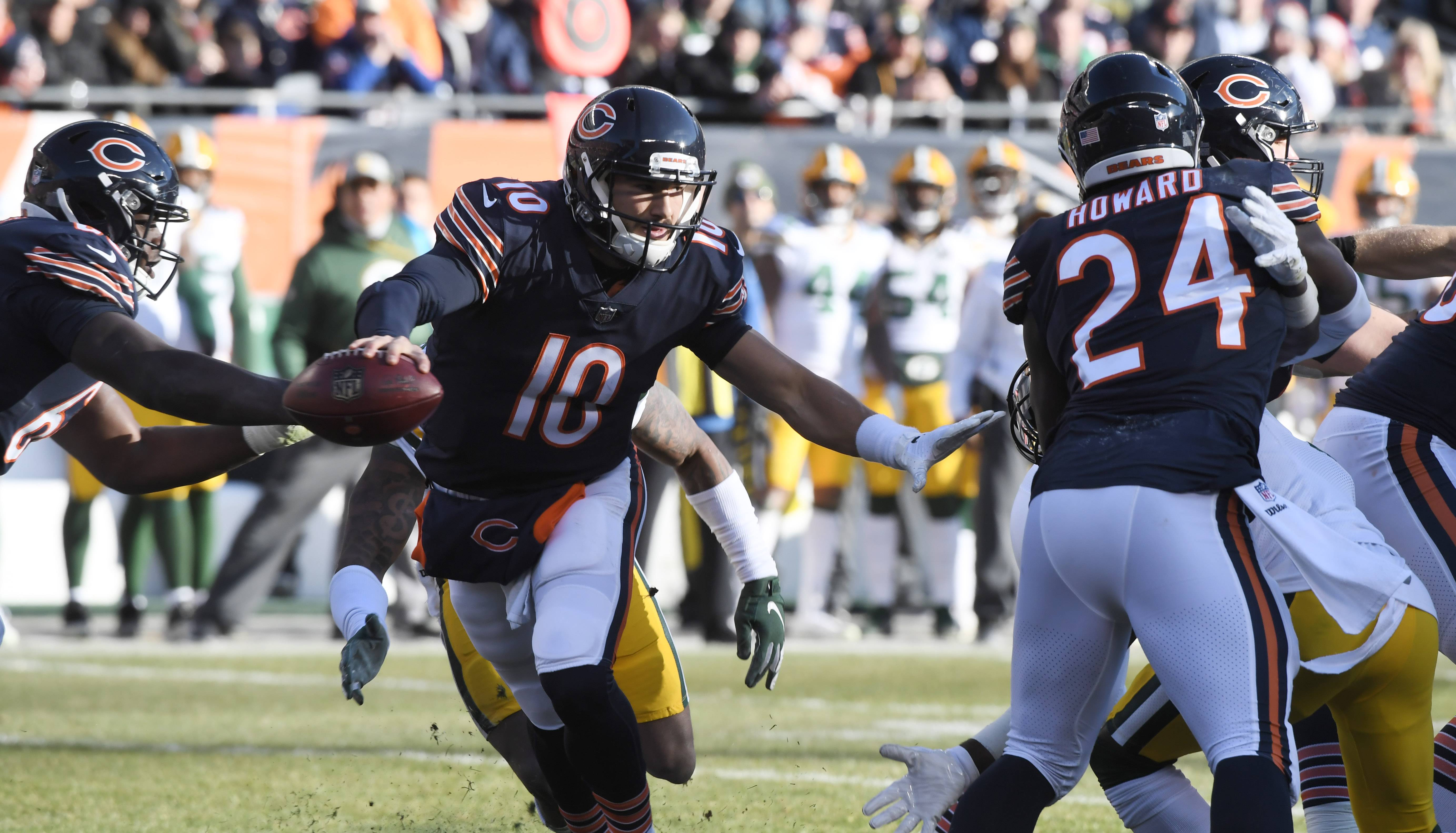 Chicago Bears quarterback Mitch Trubisky scrambles for a first down during Sunday's game against the Green Bay Packers at Soldier Field in Chicago.