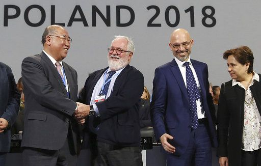 Heads of the delegations react at the end of the final session of the COP24 summit on climate changein Katowice, Poland, Saturday, Dec. 15, 2018.