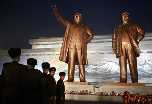 North Korean soldiers line up as they pay respect to the bronze statues of their late leaders Kim Il Sung and Kim Jong Il at Mansu Hill Grand Monument in Pyongyang, North Korea, Sunday, Dec. 16, 2018. Many North Koreans are marking the seventh anniversary of the death of leader Kim Jong Il with visits to the statues and vows of loyalty to his son, Kim Jong Un.