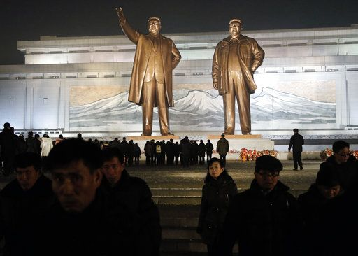 North Korean leave after paying respect to the bronze statues of their late leaders Kim Il Sung and Kim Jong Il at Mansu Hill Grand Monument in Pyongyang, North Korea, Sunday, Dec. 16, 2018. Many North Koreans are marking the seventh anniversary of the death of leader Kim Jong Il with visits to the statues and vows of loyalty to his son, Kim Jong Un.