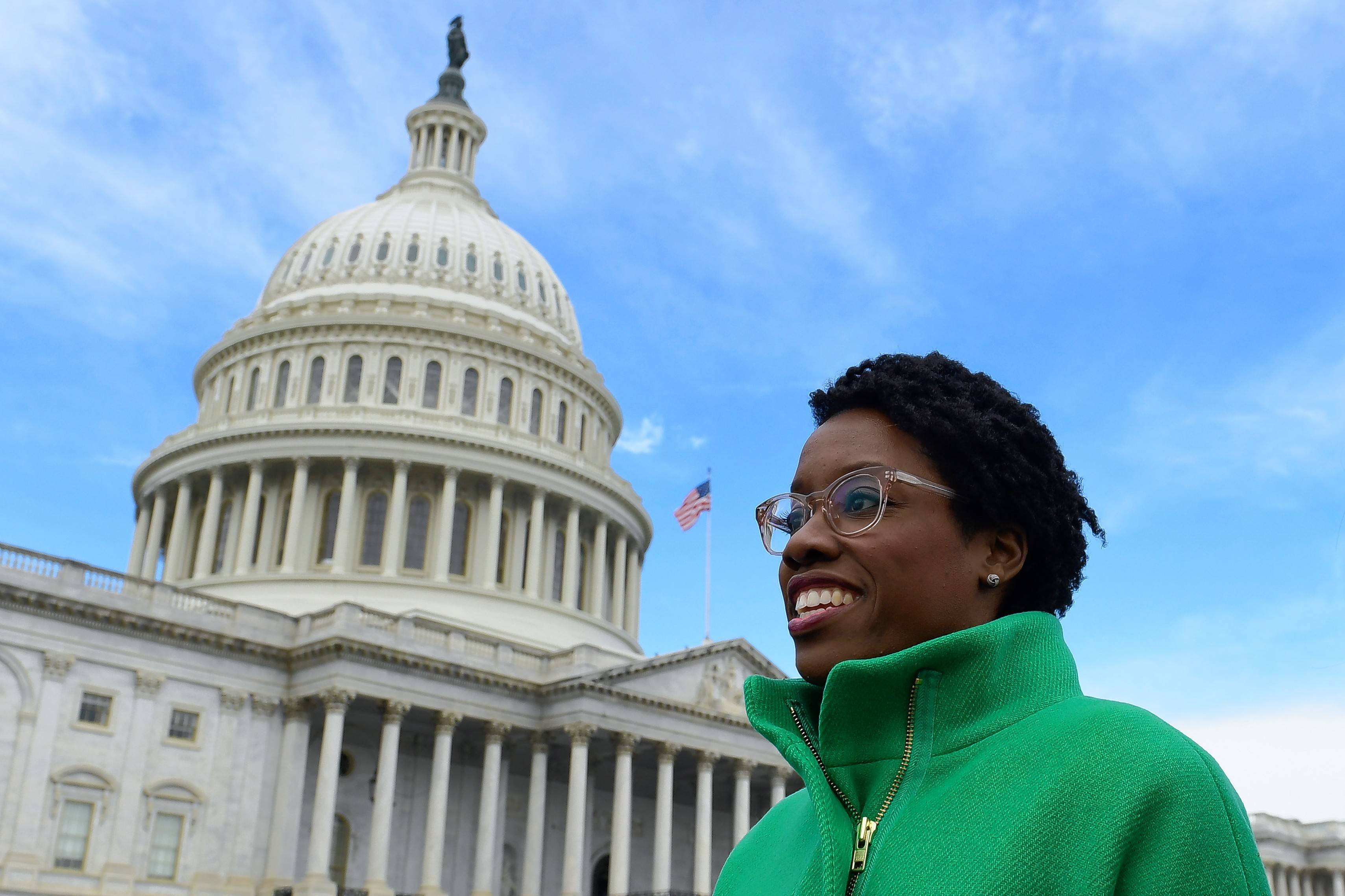 Rep.-elect Lauren Underwood walks outside following a photo opportunity on Capitol Hill in Washington last month.