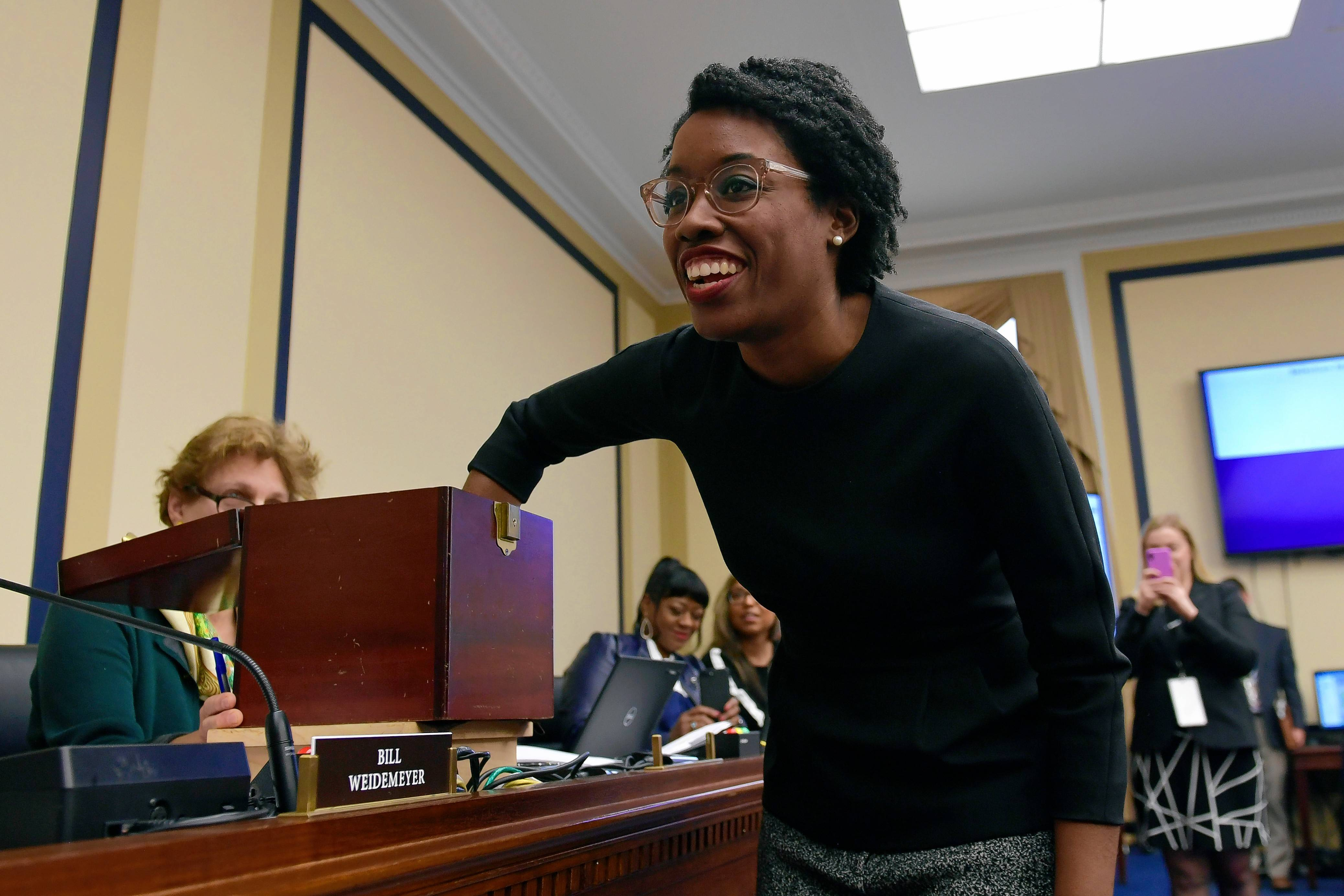 U.S. Rep.-elect Lauren Underwood reacts after picking her number in the lottery draw Nov. 30 on Capitol Hill in Washington to determine the order in which she can select her office.