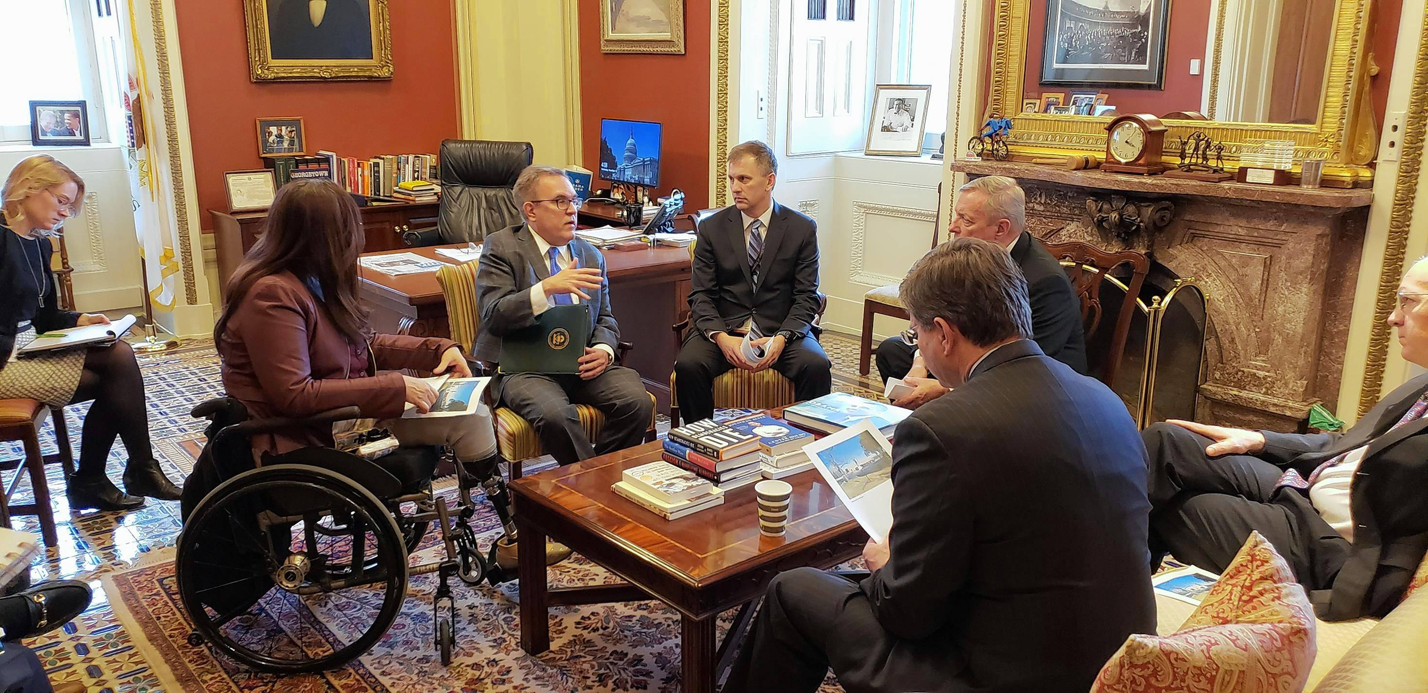 Incoming U.S. Rep. Sean Casten, center, meets with, from left, Sen. Tammy Duckworth, EPA Administrator Andrew Wheeler, Sen. Dick Durbin and Reps. Bill Foster and Brad Schneider in Washington.