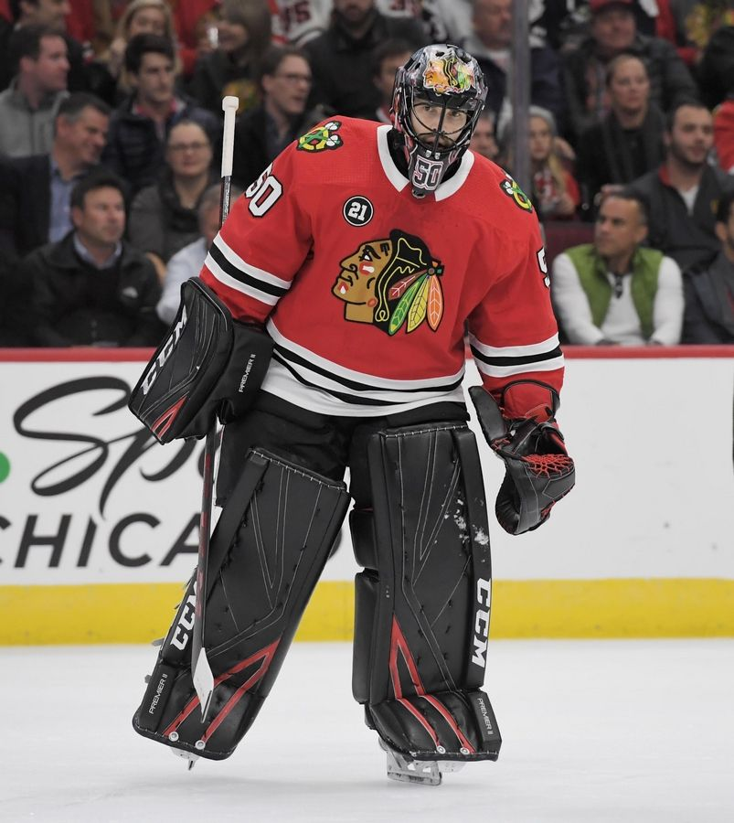 Blackhawks goaltender Corey Crawford will decide whether he will play again after suffering another concussion Sunday.