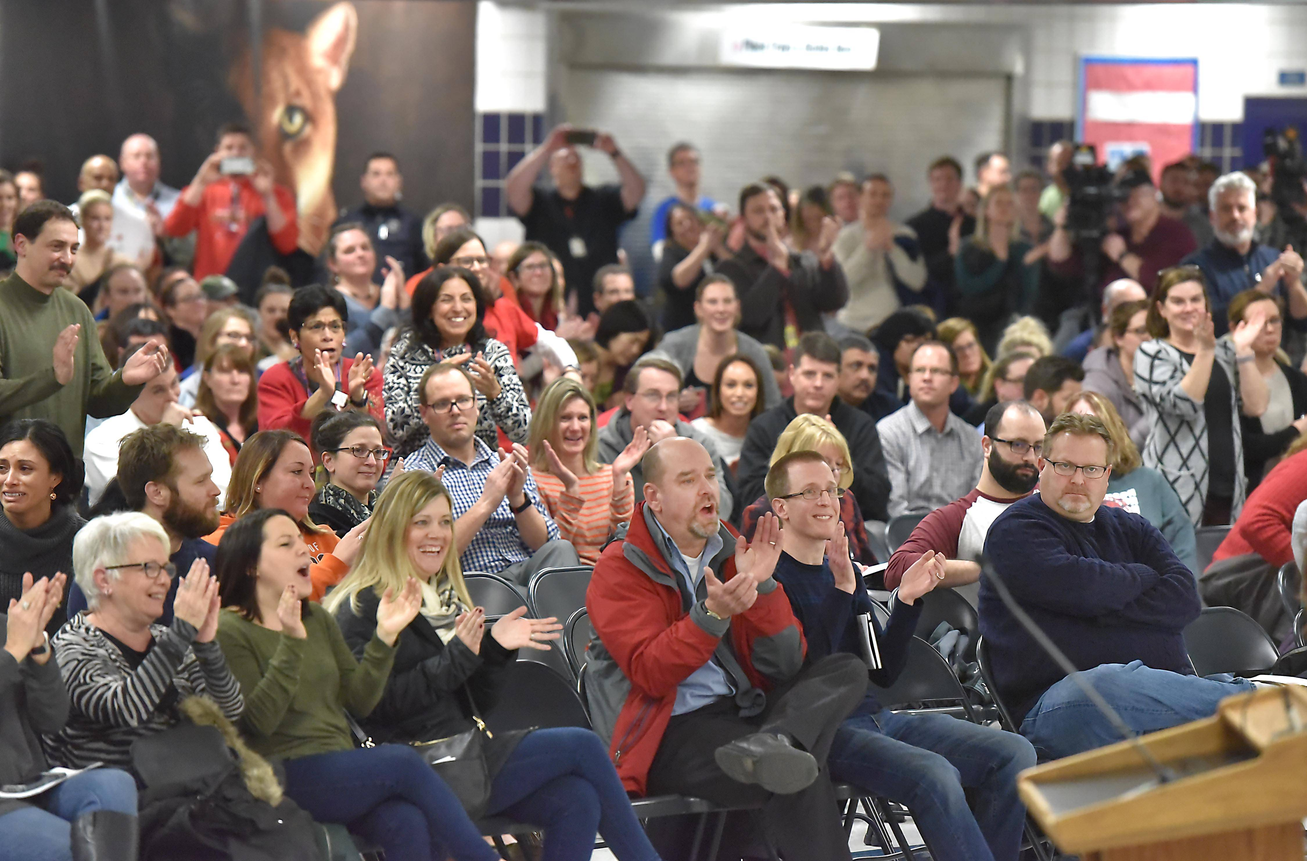 A crowd of teachers, parents and students filled the Conant High School cafeteria last Thursday night to comment on the looming threat of a teachers strike in Palatine-Schaumburg High School District 211. The strike was averted by a new contract proposal 90 hours later.