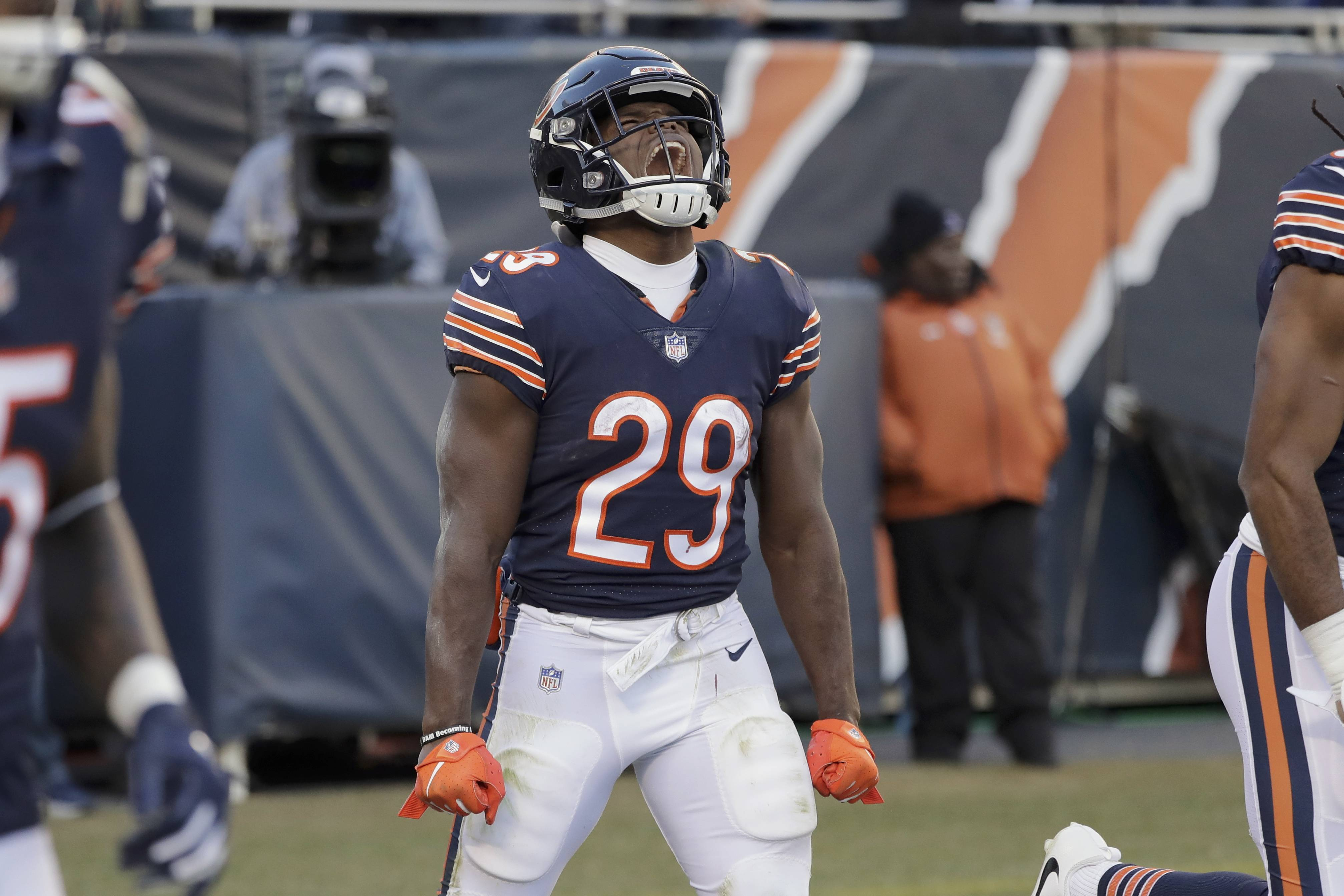 Bears running back Tarik Cohen celebrates during the win over the Packers on Sunday. Cohen was one of five Bears players named to the NFL Pro Bowl on Tuesday.
