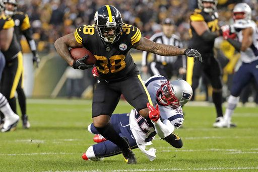 5ddce06a1b3 Pittsburgh Steelers running back Jaylen Samuels (38) is tackled by New  England Patriots free