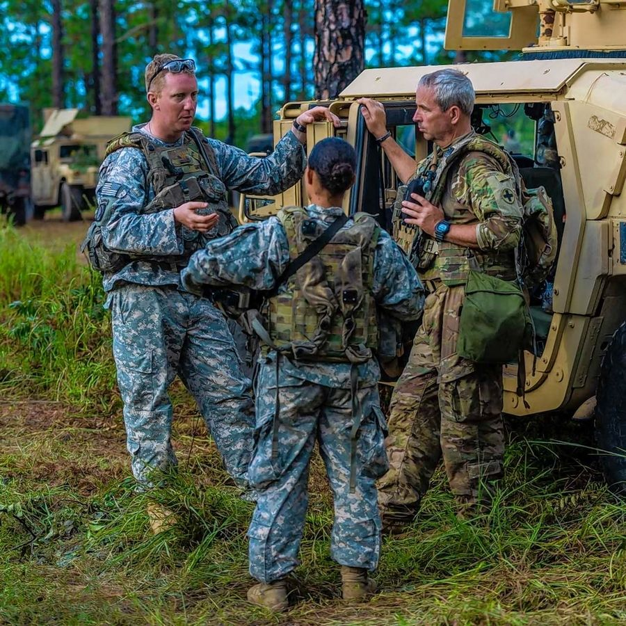Soldiers from the 1st Battalion, 178th Infantry Regiment based in Chicago confer during recent training exercises held at the Joint Readiness Training Center at Fort Polk, Louisiana. The regiment has been notified of its summer 2019 deployment to Afghanistan.