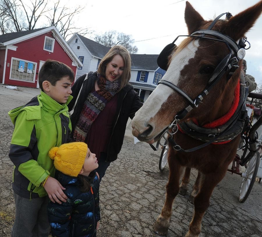 Kelly the horse greets Liam Zafer, 3, of Bartlett and Charlie Jackson, 10, of Palatine along with Jenel Zafer as they wait to climb aboard the carriage at the annual Long Grove Vintage Holidays festival Sunday.